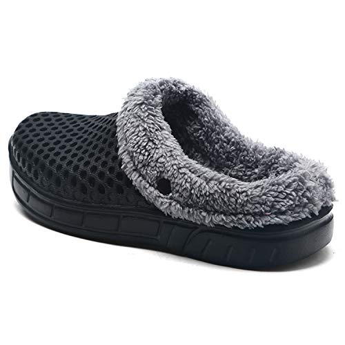 fee7e70c8f3d Clogs Shoes Fur Lined Slippers Winter Breathable Indoor Outdoor Walking  Warm Non-Slip House Shoes