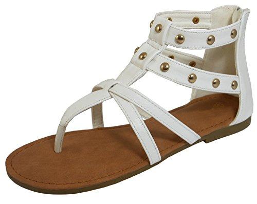 - Cambridge Select Women's Open Toe Thong Gladiator Caged Cutout Strappy Studded Flat Sandal,7 B(M) US,White PU
