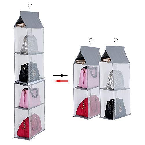 Handbag Organizer - KEEPJOY Detachable Hanging Handbag Organizer Purse Bag Collection Storage Holder Wardrobe Closet Space Saving Organizers System(Gray)