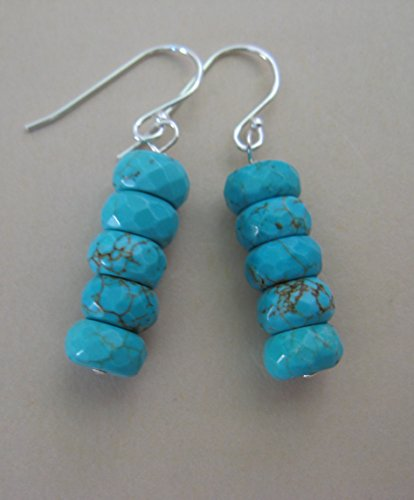 Aqua Blue Gem - Aqua Blue Howlite Gemstone Sterling Silver Earrings