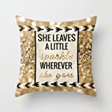 Society6 - She Leaves A Little Sparkle Wherever She Goes Throw Pillow by Tangerine-Tane
