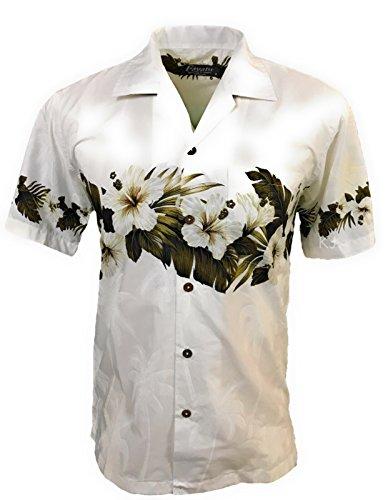 Favant Tropical Luau Beach Hibiscus Band Floral Print Men's Hawaiian Aloha Shirt (X-Large, White) ()