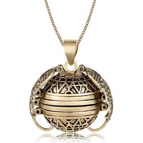 Yaomiao Photo Necklace Locket Expanding Photo Necklace Locket Ball Locket with Wing Design and Long Chain Gift Jewelry Decoration for Father's Day Anniversary Valentine Birthday (Bronze)