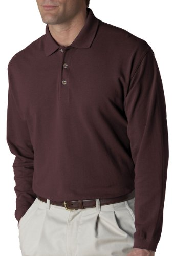 UltraClub mens Long-Sleeve Classic Pique (Mens 100 Pique Polo)
