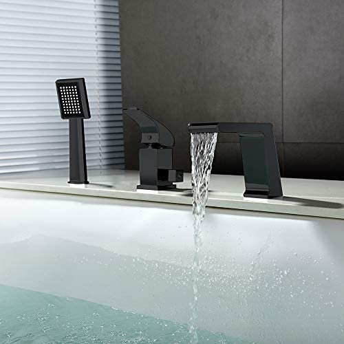 冷たいお湯で滝バスタブ蛇口、ハンドヘルドシャワー付き黒のシングルハンドルバスシャワーセットのデッキの取付け浴室バスタブミキサータップ