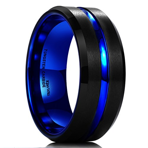 King Will Mens 10mm Black Matte Finish Tungsten Carbide Ring Blue Beveled Edge Wedding Band