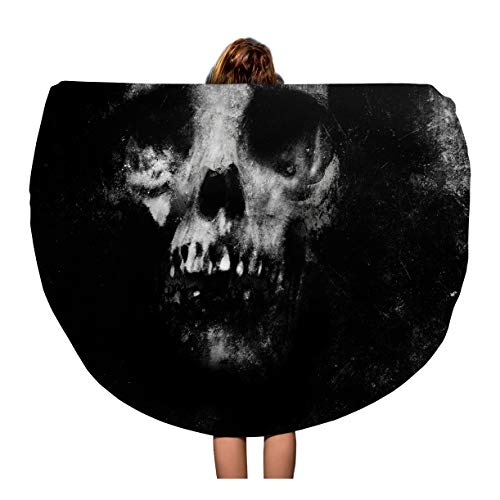 Pinbeam Beach Towel Zombie Scary Halloween Spooky Skull Face Death Effect Travel 60 inches Beach Blanket
