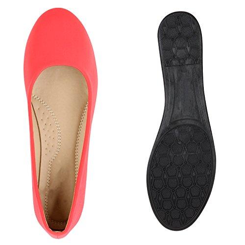 Stiefelparadies Damen Ballerina Schuhe Klassische Ballerinas Lack Glitzer Slipper Flats Velours Metallic Schuhe Leder-Optik Slip Ons Übergößen Flandell Coral