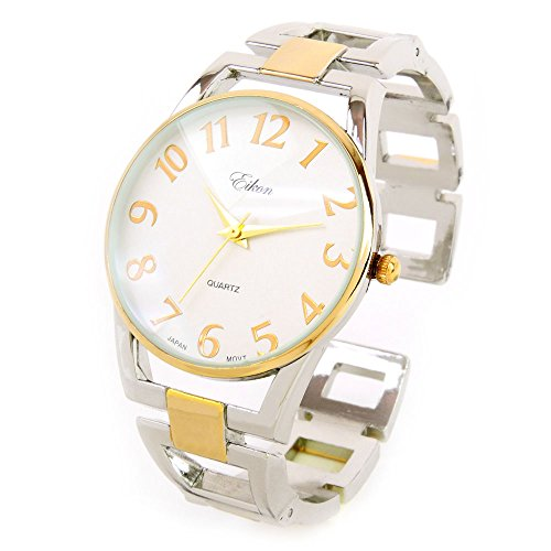 Large Square Bangle - 2Tone Square Links Style Band Large Face Easy to Read Women's Bangle Cuff Watch
