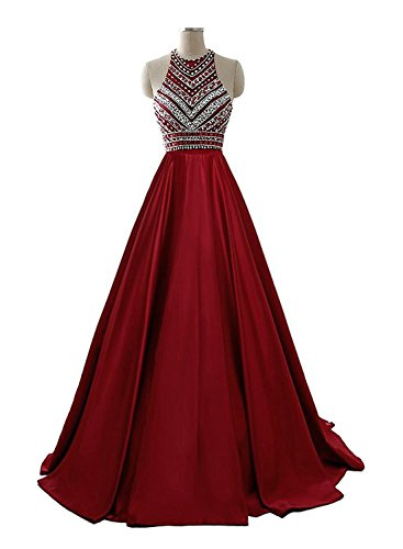 HEIMO Women's Sequins Evening Party Gowns Beading Formal Prom Dresses Long H187 10 Burgundy by HEIMO