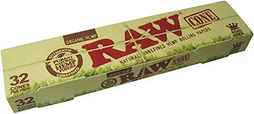 RAW Organic Unrefined Pre-Rolled Cone 32 Pack (King Size) by RAW ...