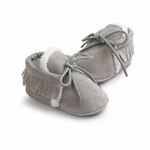 Velvet Suede Footwear - Smakke Newborn Baby Boy Girl Pu Suede Leather Fringe Soft Soled Non-Slip Footwear Shoes Plus Velvet 0-6 Months
