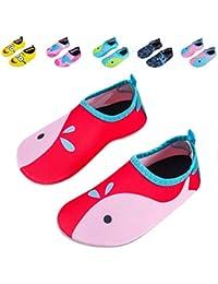 90950c01226028 Kids Swim Water Shoes Non-Slip Quick Dry Barefoot Aqua Pool Socks Shoes for  Boys