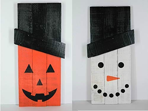 (Reversible snowman jack o lantern holiday decoration, upcycled pallet entryway decor, double sided frosty pumpkin, halloween christmas stand)