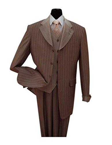 [Fortino Landi Gangster Pinstripe Four Button Suit w/ Vest 2911 Black, Navy, Tan (42 Regular, Brown)] (Mens Gangster Suits)