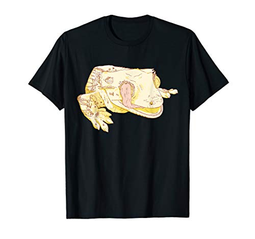 Crested Gecko Lizard with Tattoos Licking Eyeball T-Shirt ()