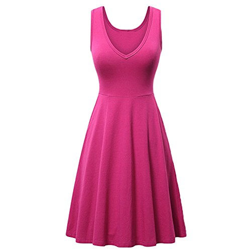 d5faded2d8ec Summer Casual Dresses for Women Sexy V Neck Sleeveless Cocktail Evening  Party Dresses Plain Pleated Ruffle