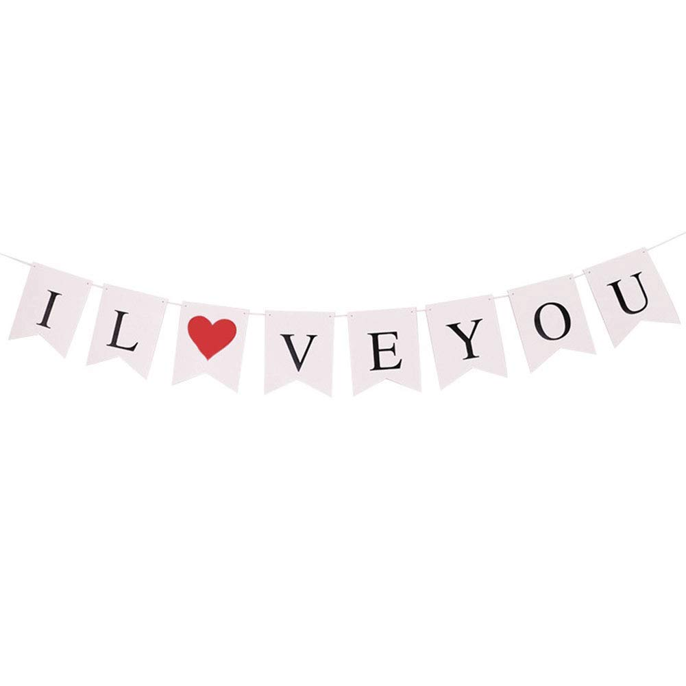 Yevison 1X Banner Flag Pennant I Love You Vintage Hen Party Bunting Banner Decoration Photo Prop Wedding Flag Practical