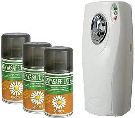 Kenyasafe Extra - 3 botellas de insecticida de 250 ml con dispensador automático