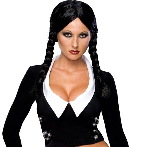 [Secret Wishes  Costume The Addams Family Deluxe Wednesday Wig, Black, One Size] (The Addams Family Wednesday Costumes)