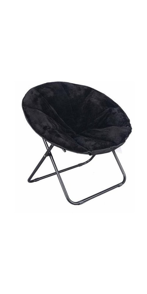 Mainstay Comfortable Faux Fur Plush Folding Saucer Chair (Black)