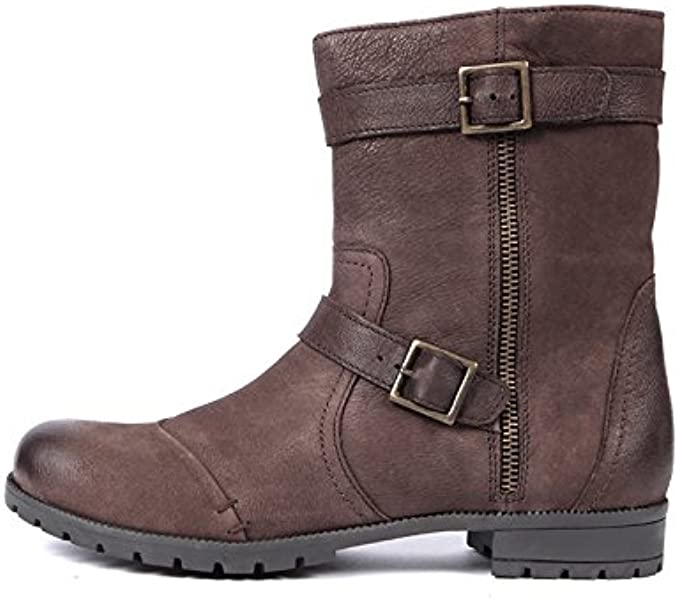 473e87732237 Womens Brown Ankle Leather Biker Boots Zip Up. Back. Double-tap to zoom
