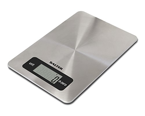 Salter Digital Kitchen Weighing Scales – Stainless Steel Easy to Clean Design, Electronic Cooking Scale Appliance for Home and Kitchen, Weigh Food with Accurate Precision up to 5kg + Aquatronic Function for Liquids in ml and fl. oz. 15 Year Guarantee