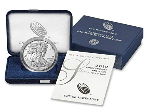 (2019 W American Silver Eagle 1 Ounce Coin in OGP with CoA Dollar Proof US Mint)
