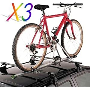 TMS 2 X Aluminum Upright CAR Rooftop Folding Bicycle Rack Carrier Suv (For 2 Bikes)