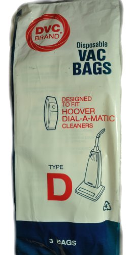 Hoover Type D Upright Vacuum Cleaner Bags, DVC Replacement Brand, designed to fit Hoover Upright Dialamatic 1100 Series Vacuum Cleaners, 3 bags in pack