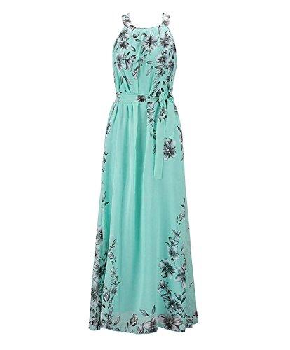 18401796df3200 Cinghie Cerimonia Chiffon Vintage Lunghi Con In Abito Stampato Eleganti  Senza Lungo Donna Verde Maxi Vestito ...