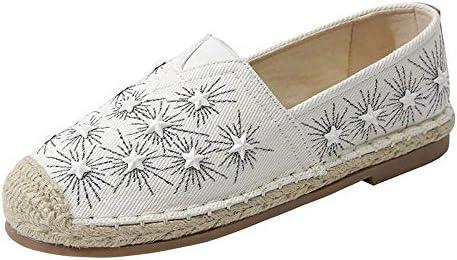 漁師の靴フィッシャーマンキャンバスレディースシューズレディースシューズ刺繍レイジーボードシューズ夏春と秋のメンズシューズペダルデオドラントカジュアル潮の靴刺繍入りレディースシューズ布靴通気性フラットサンダルとスリッパリネンフラット浅い口の単一の靴フィッシャーマン靴中空シューズ (Color : White, Size : 25.5cm)