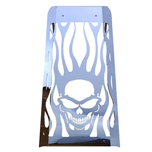 Skull Flame Polished Stainless Radiator Cover Grill Guard fits: 2010-2016 Honda Fury VT1300 - Ferreus Industries - GRL-100-09
