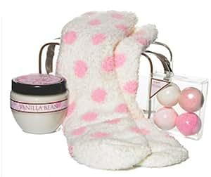 Girls Fancy Feet Lotion, Bath Fizzies and Fuzzy Socks Gift Set (Polka Dot Socks with Vanilla Lotion)