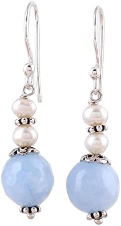 NOVICA Aventurine .925 Sterling Silver Dangle Earrings 'Glorious Day'