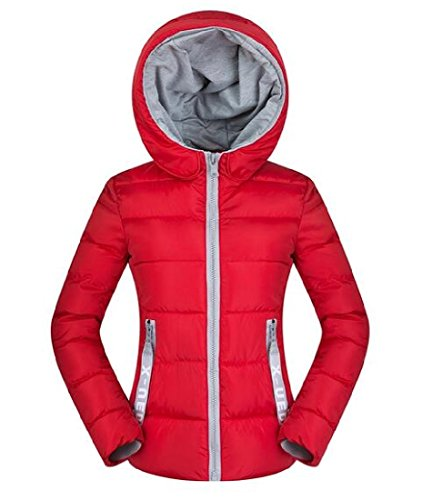 Cargo Red Hooded Solid Down Pocket Jackets Color AngelSpace Womens Short Z6qwzg