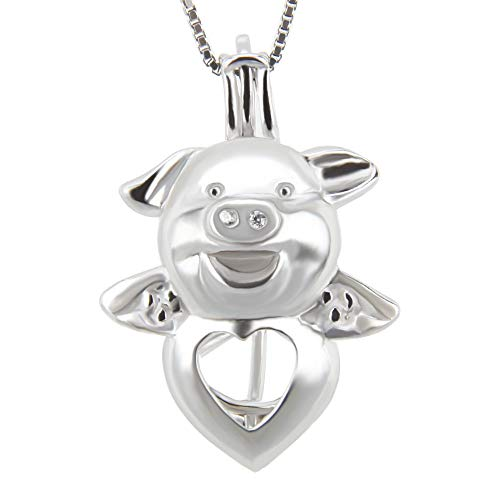 (925 Sterling Silver Heart Pig Pendant Necklace for Pearl Jewelry Making,Pearl Cage Pendants Holder Essential Oil Diffuser Lava Stone Locket for Women)
