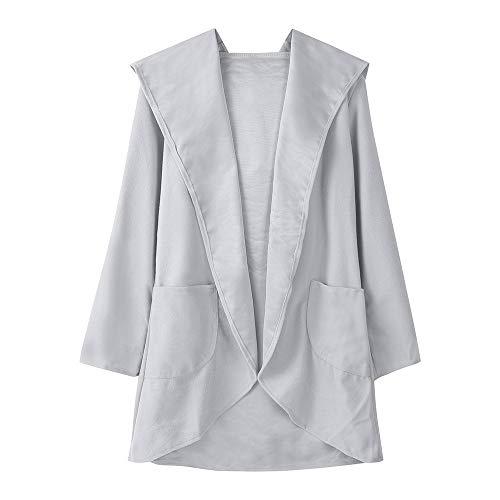 Women Casual Long Sleeve Cardigan Warm Hooded Jacket Winter Coat Outwear (2XL, Gray)