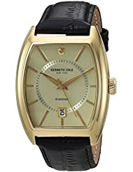 Kenneth Cole New York Mens Diamond Quartz Stainless Steel and Leather Dress Watch, Color:Black (Model: 10030818)