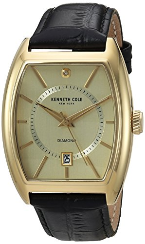 Kenneth Cole New York Men's 'Diamond' Quartz Stainless Steel and Leather Dress Watch, Color:Black (Model: 10030818)