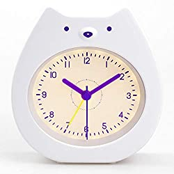Soundance Cute Kids Alarm Clock, Analog Quiet Silent No Ticking No Snooze Sleep Training Battery Operated Rechargeable Night Light, Gift for Girls Boys Children Bedroom, Easy Use Set, White Bear BC1
