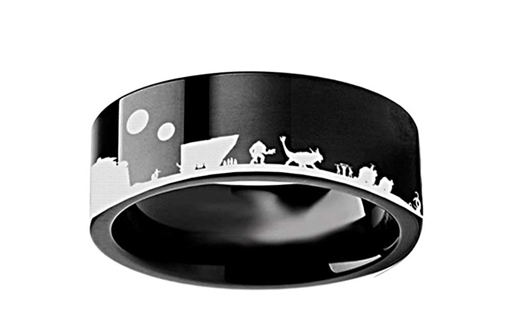 Thorsten Sith Insignia Emblem from Star Wars Wedding Band Ring Black Tungsten 8mm Wedding Band Ring from Roy Rose Jewelry