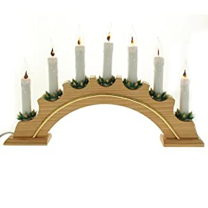 Pre lit wooden arch candle bridge window table christmas for Arch candle christmas decoration