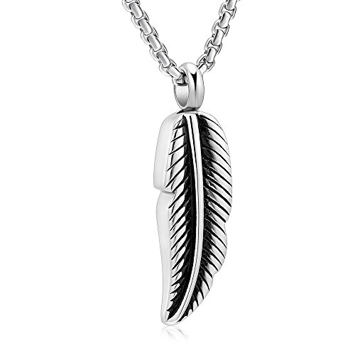 Stainless Steel Feather Urn Necklace Hold Cremation Ashes Keepsake Memorial Jewelry +Box+Fill Kits