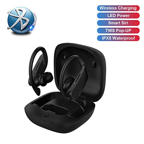 Wireless Bluetooth 5.0 Headset Deep Bass 3D Stereo Mini Headset with Total Play Time with Charging Case IPX7 Waterproof Built-in Microphone for Work, Sports, Driving