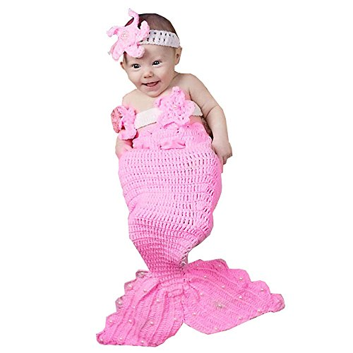 MG House Newborn Girl Baby Handmade Crochet Knitted Photo Photography Prop Mermaid Tail Romper Outfits