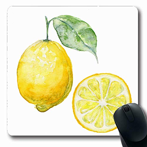 (Ahawoso Mousepads Vegetable Yellow Lemon Fresh Limon Green Leaves Group Food Drink Watercol Fruit Design Lifestyle Oblong Shape 7.9 x 9.5 Inches Non-Slip Gaming Mouse Pad Rubber Oblong Mat)