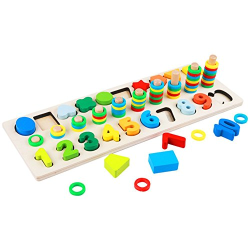 ood Blocks Puzzle Board Set for Toddler Preschool Kids, Learning & Educational Toys for Number Counting, Colors Stacking, Shape Sorting ()