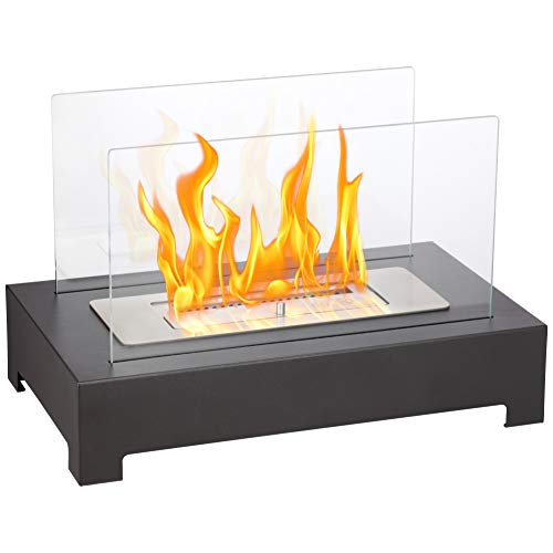 - Xbeauty Tabletop Fireplace, Indoor Ventless Bio Ethanol Fire Pit,Built in Recessed with Safety Glass,Long Lasting Burn Time(Transparent with Base
