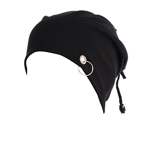 SUKEQ Unisex Ring Lacing Beanie Caps Slouchy Thin Hip Hop Skull Cap Snowboard Hats for Men and Women (Black)